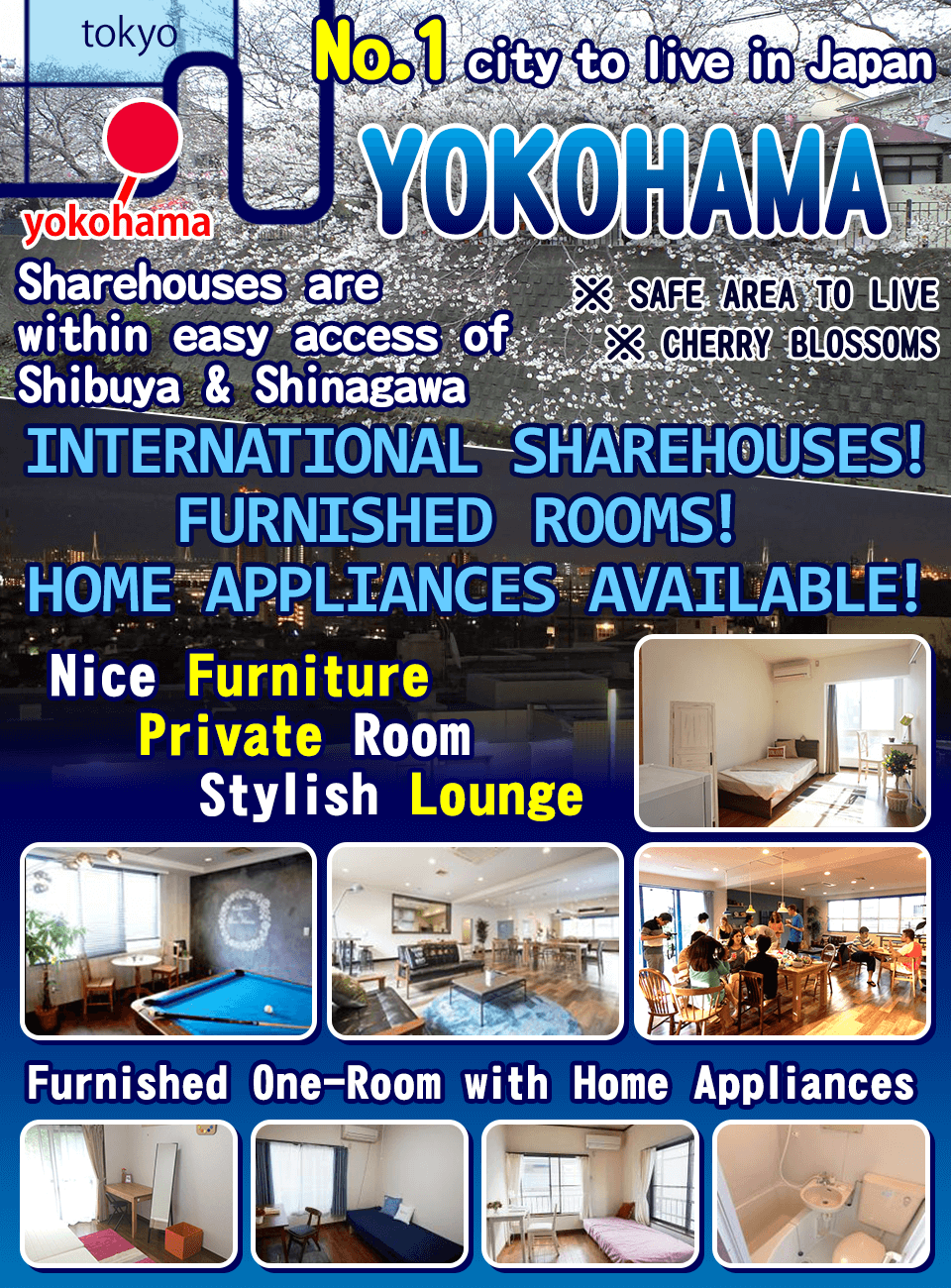 One of the most popular cities in Japan! Sharehouses in Yokohama!