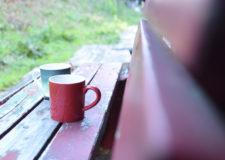 物件裏の休憩ベンチ