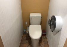 こちらは暖かみのある壁紙で女性専用トイレです。